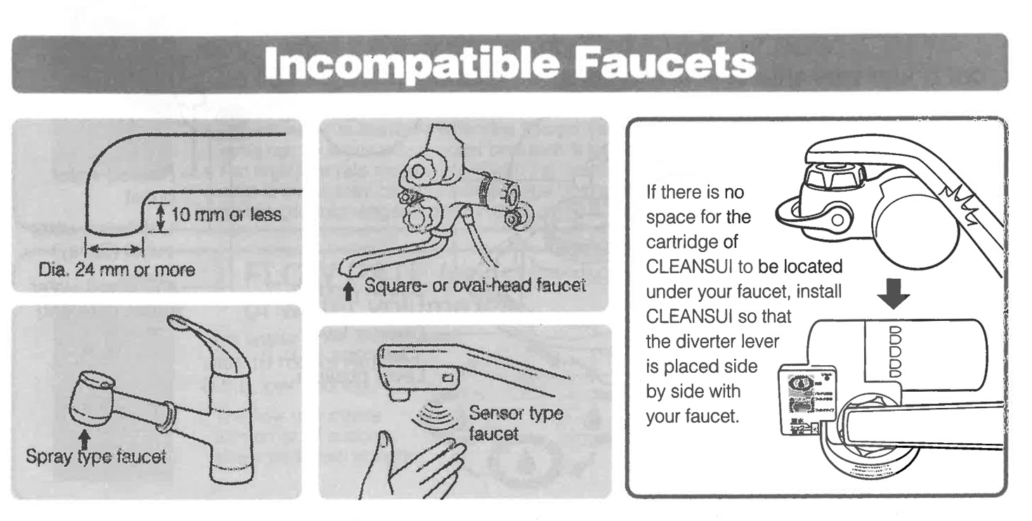 Incompatible faucet types